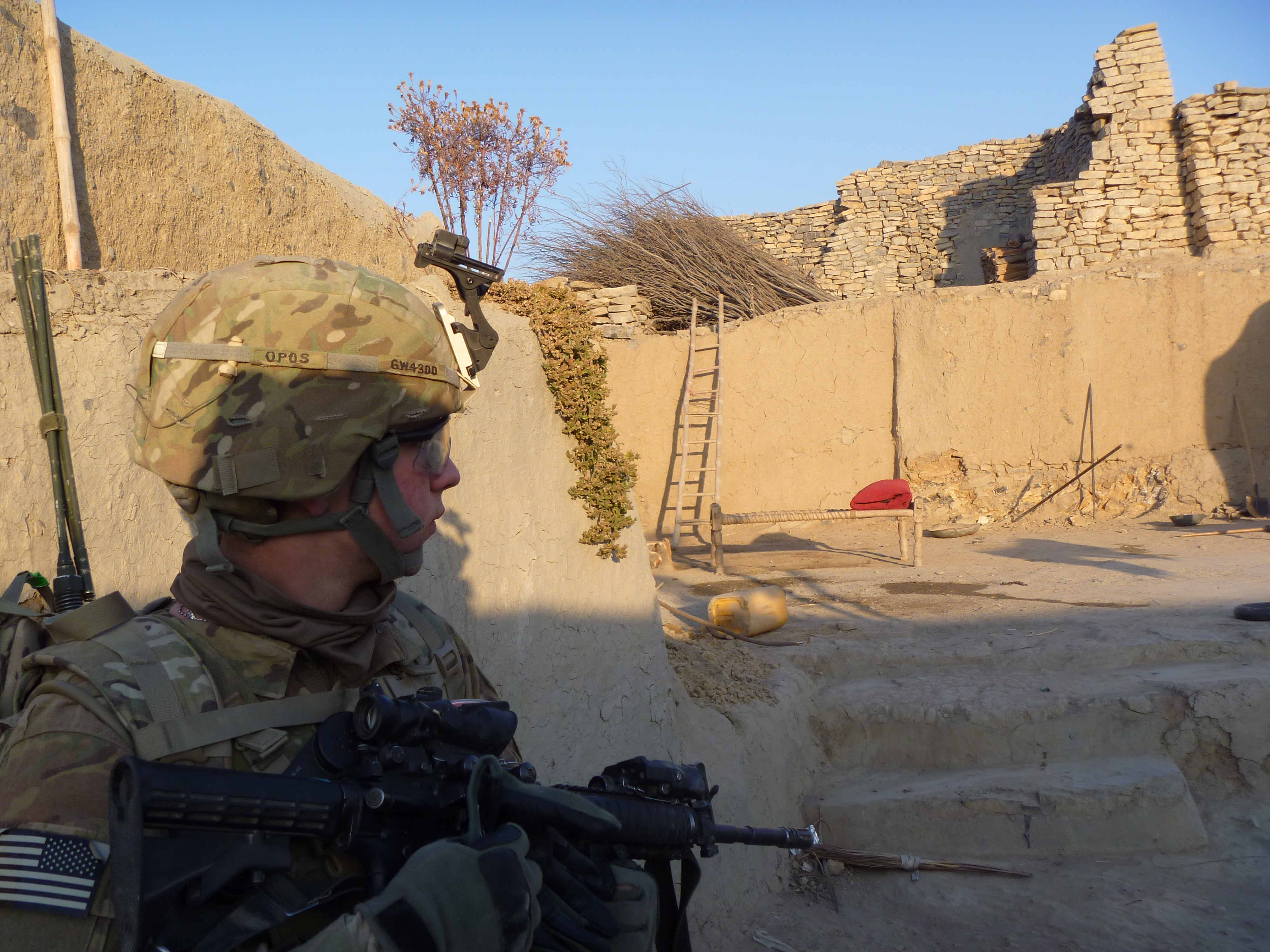 Soldier entering a qalat in Afghanistan